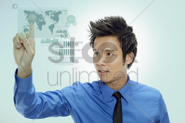 businessman using digital screen stock photo