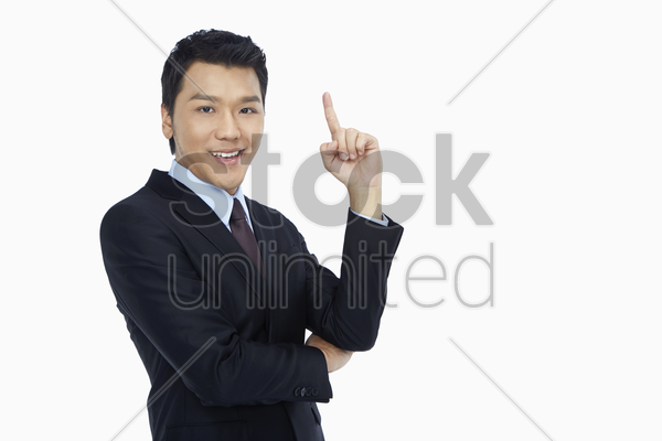 businessman with a solution stock photo
