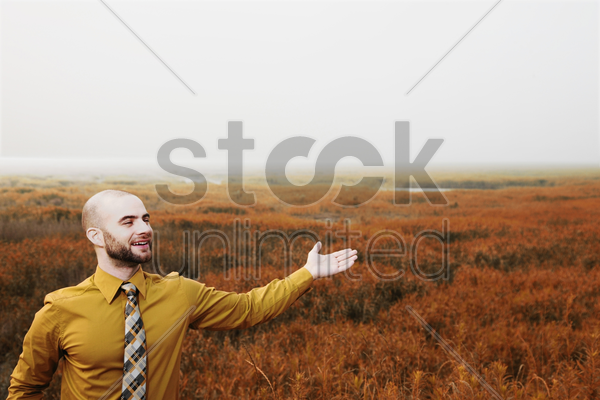 businessman with arm outstretched, green field in the background stock photo