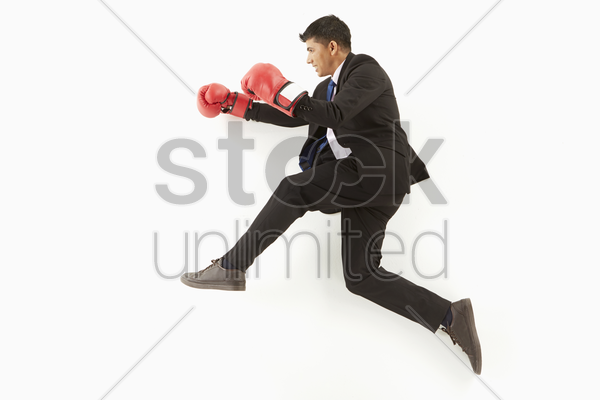 businessman with boxing gloves posing on the floor stock photo