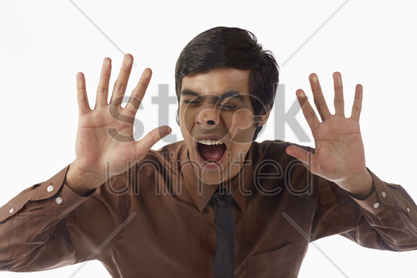 businessman with face against a glass stock photo