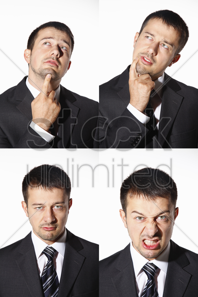 businessman with various expressions stock photo
