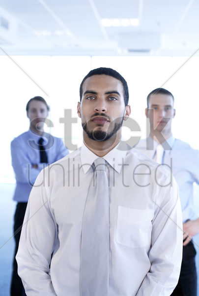 businessmen posing for the camera stock photo