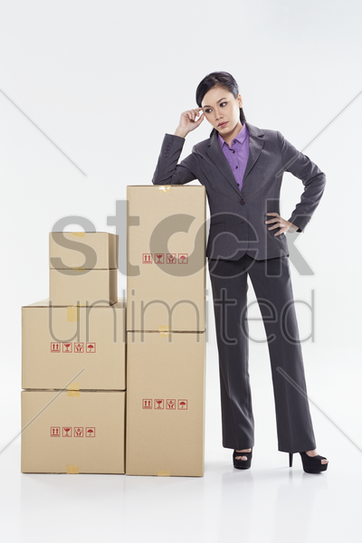 businesswoman contemplating stock photo