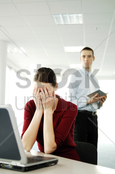 businesswoman crying stock photo