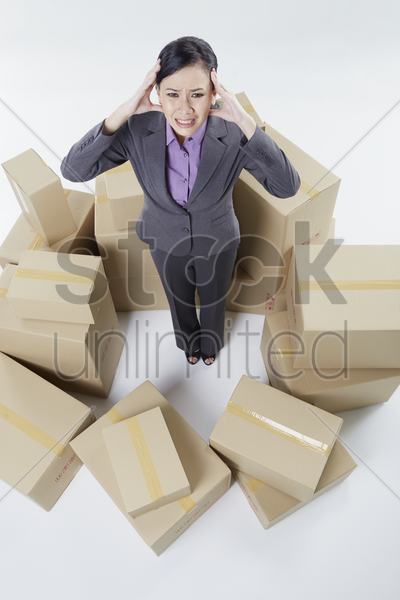 businesswoman feeling frustrated stock photo