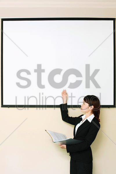 businesswoman giving presentation stock photo