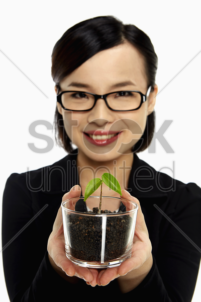 businesswoman holding up a potted plant stock photo