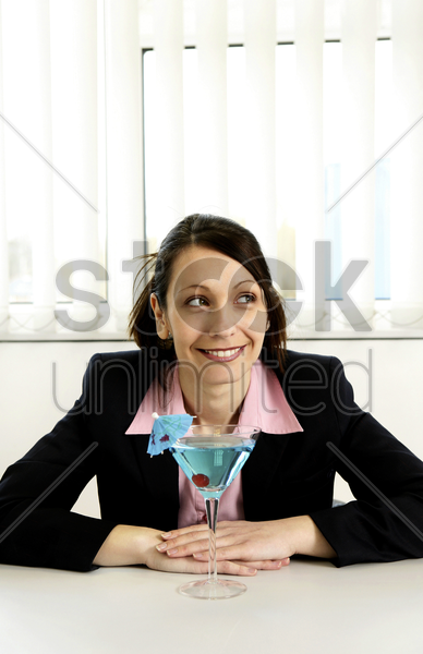businesswoman in holiday mood stock photo
