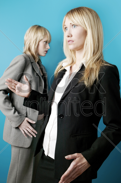 businesswoman moving in a robotic way stock photo