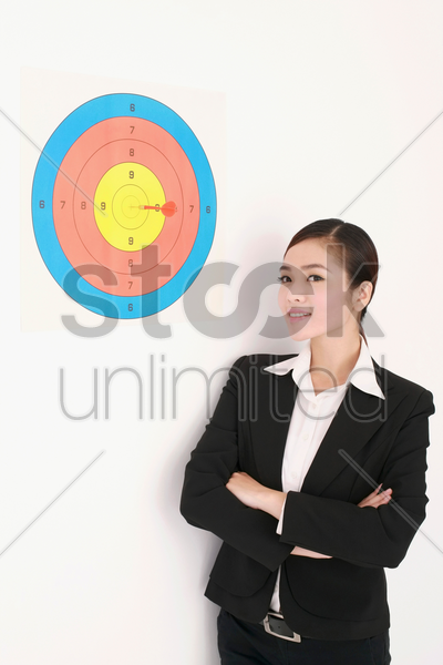 businesswoman on target stock photo