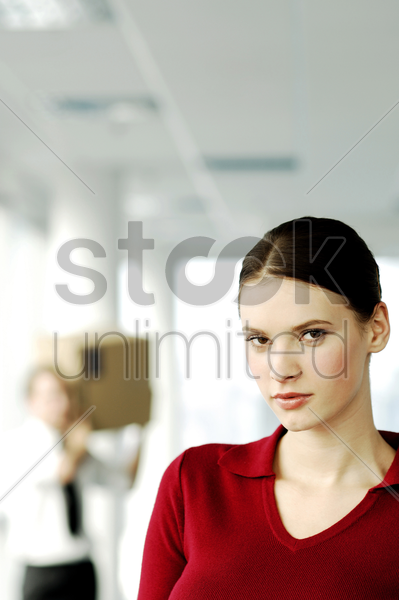 businesswoman staring at the camera stock photo