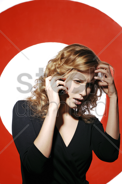 businesswoman talking on the hand phone stock photo