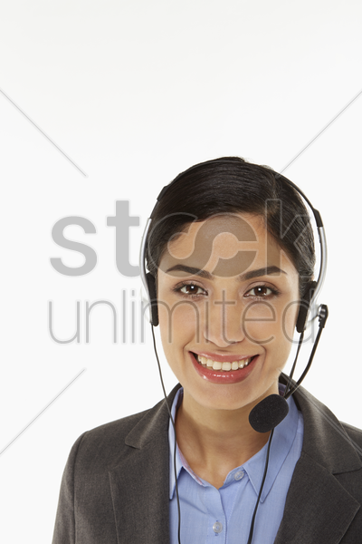 businesswoman with a headset stock photo