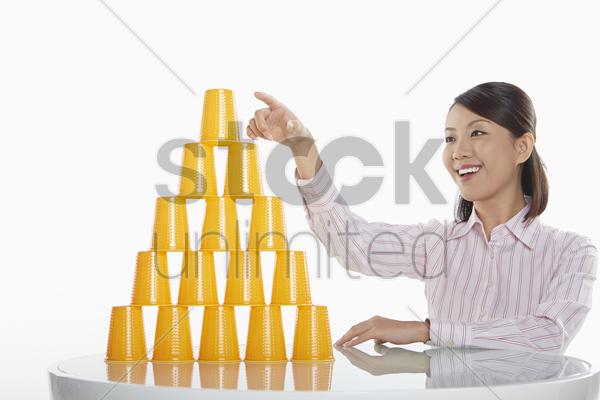 businesswoman with a solution stock photo