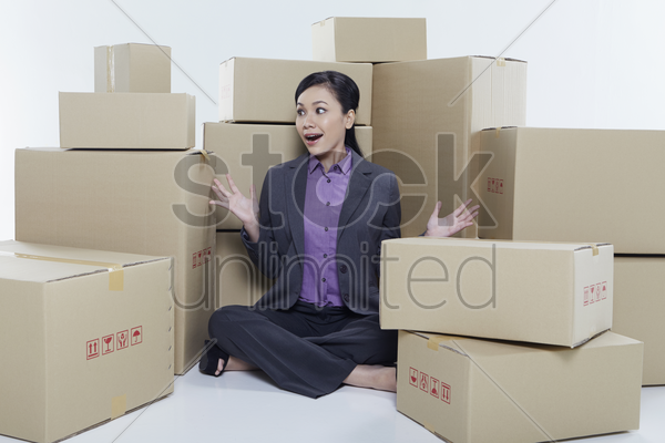 businesswoman with a surprised expression stock photo