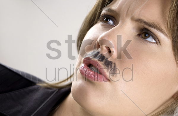businesswoman with moustache stock photo