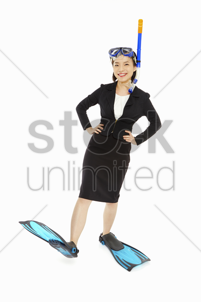 businesswoman with scuba diving gear stock photo