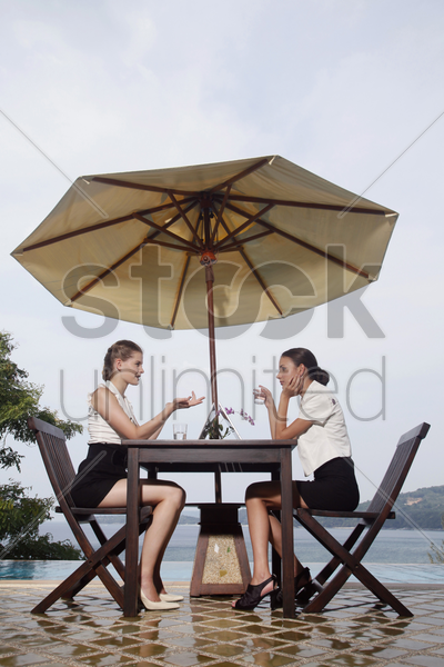businesswomen having discussion by the poolside stock photo