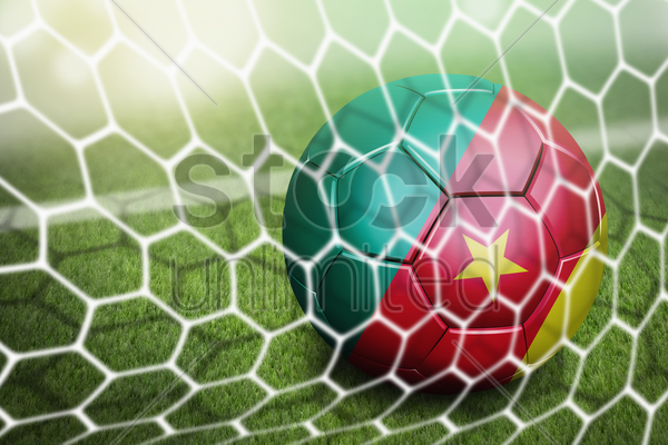 cameroon soccer ball in goal net stock photo