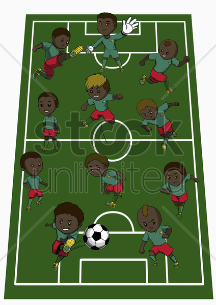 cameroon team formation stock photo