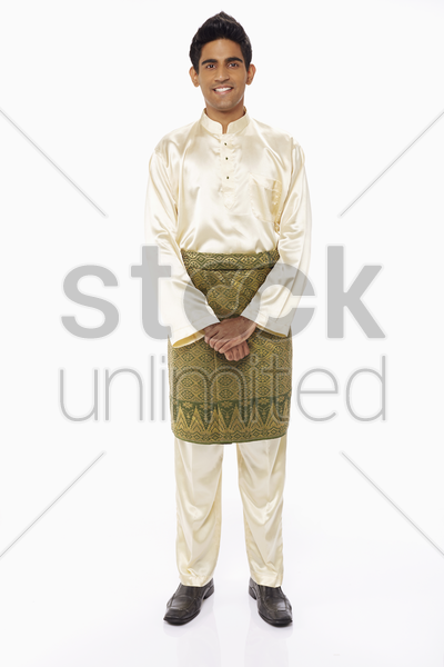 cheerful man in traditional clothing smiling stock photo
