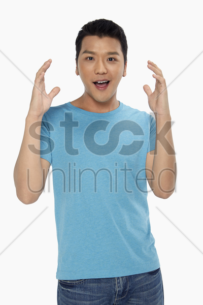 cheerful man looking surprised stock photo