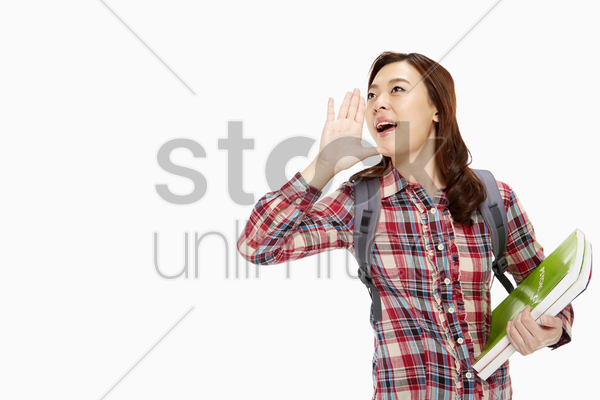 cheerful woman shouting out stock photo