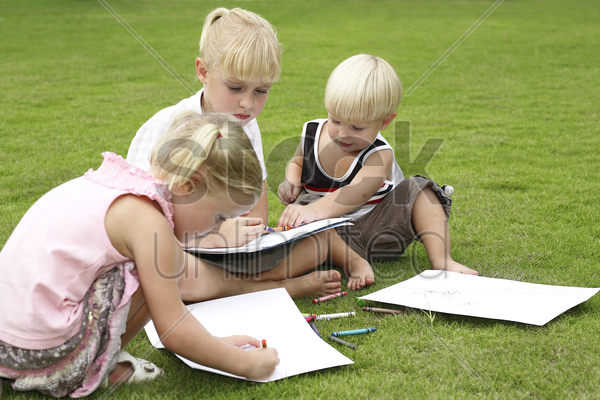 children drawing stock photo