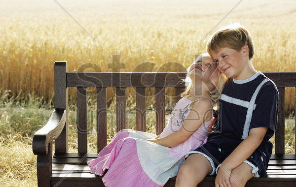 children enjoying each other's company stock photo