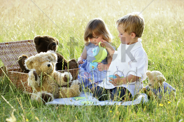 children's picnic stock photo