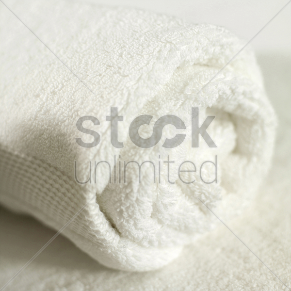 clean rolled up towel stock photo