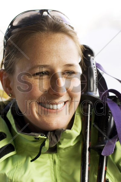 close up of woman in winter clothing stock photo