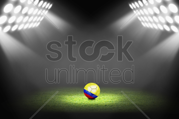 colombia ball on the soccer field stock photo