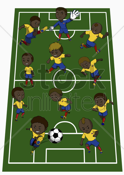 colombia team formation stock photo