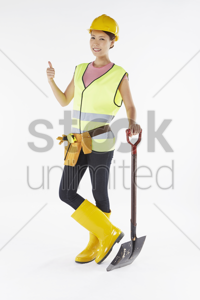 construction worker smiling and posing stock photo