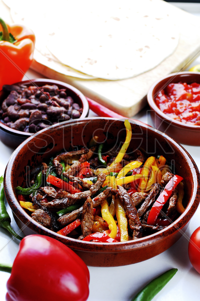 cooked mexican beef with pepper strips stock photo