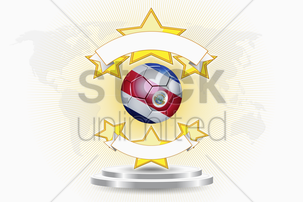 costa rica soccer ball emblem stock photo