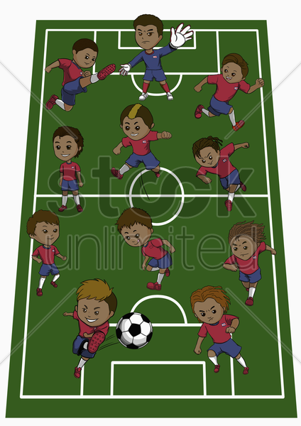 costa rica team formation stock photo