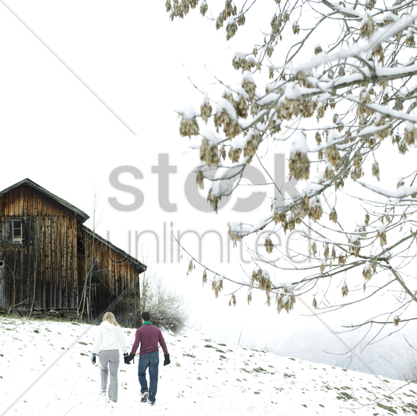 couple holding hands while walking to the chalet stock photo