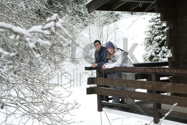 couple in the chalet stock photo