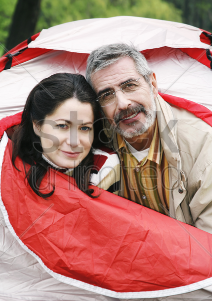 couple in the tent stock photo
