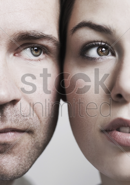 couple's face close to each other stock photo