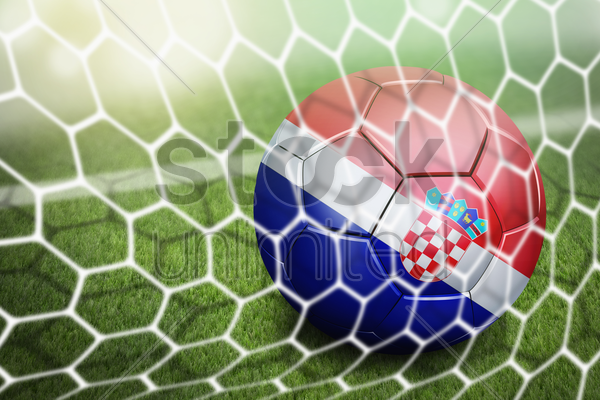 croatia soccer ball in goal net stock photo