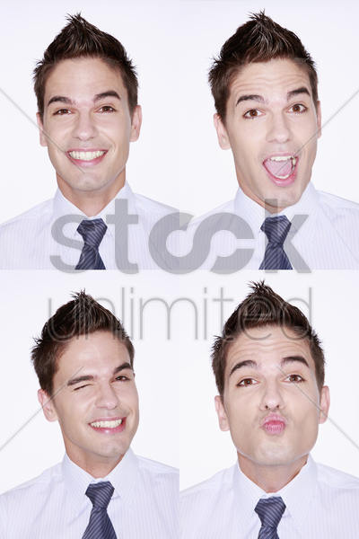 different faces of a businessman stock photo