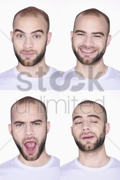 different faces of a man stock photo