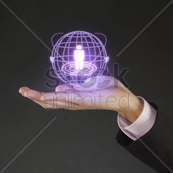 digital graphic of a human figurine on human hand stock photo