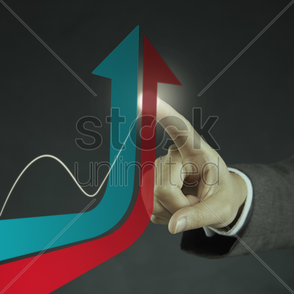 digital graphic of two arrows pointing upwards stock photo