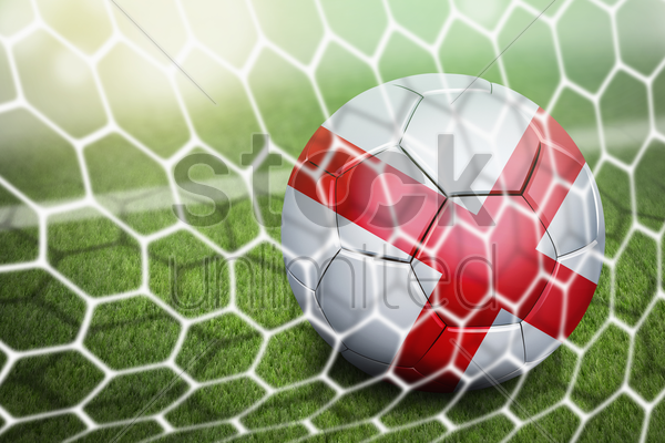 england soccer ball in goal net stock photo