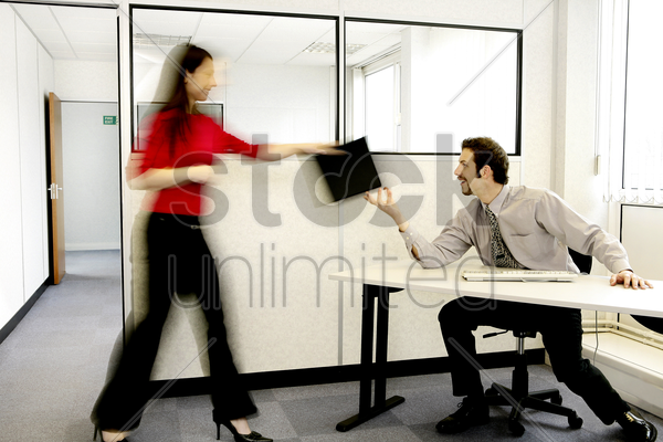 fast and efficient workers stock photo